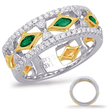 Yellow White Gold Tsavorite Diamond Ring