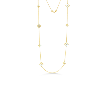 18K ALTERNATING SM & LG MOTHER-OF-PEARL & DIAMOND NECKLACE