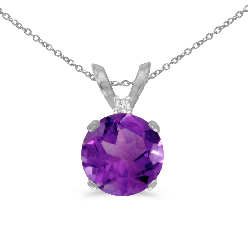 Color Merchants 14k White Gold 6mm Round Amethyst Stud Pendant (.65 ct)
