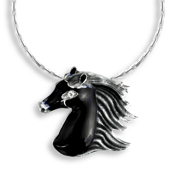 Sterling Silver Necklace-Horse-Black-Diamond
