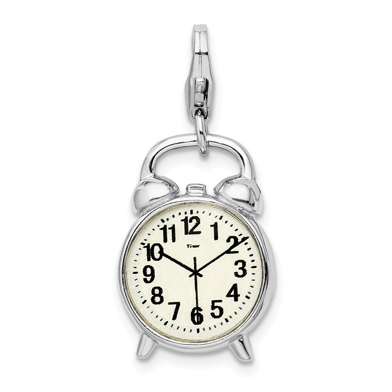 Quality Gold Sterling Silver 3-D Alarm Clock w/Lobster Clasp Charm