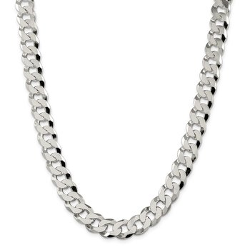 Sterling Silver 12.3mm Beveled Curb Chain