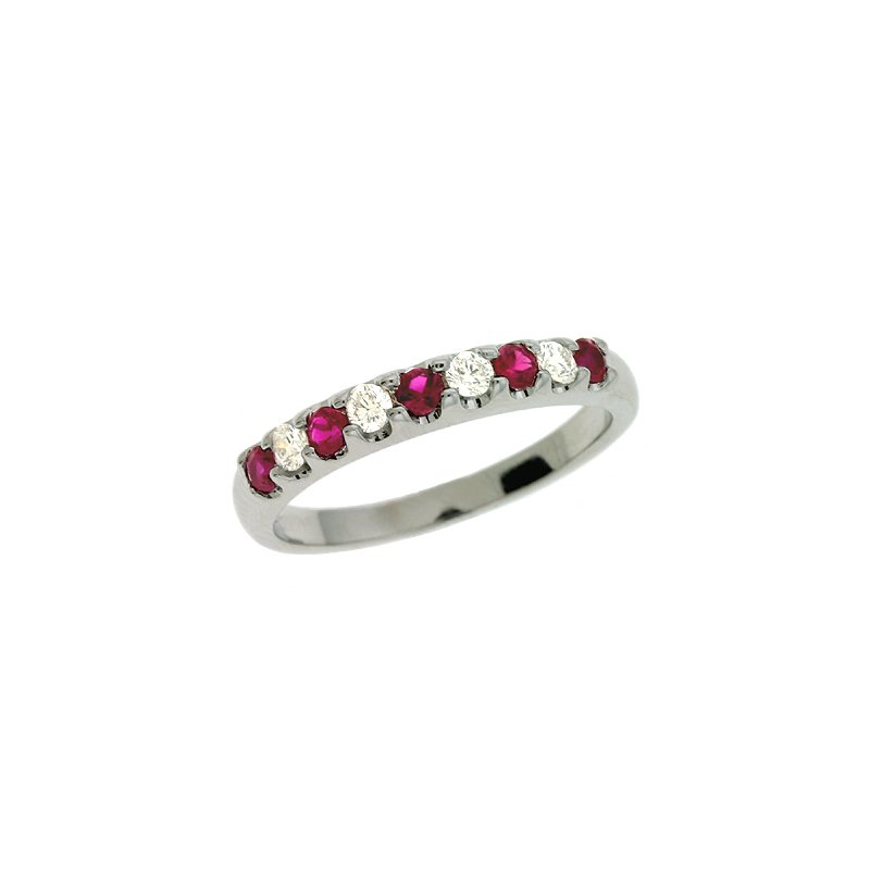 S. Kashi  & Sons Ruby & Dia White Gold Band