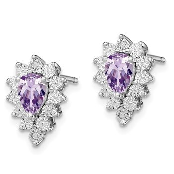 Sterling Silver Rhodium-plated Diamond & Pink Quartz Earring
