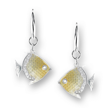 Sterling Silver Angelfish Wire Earrings-Yellow. White Sapphires