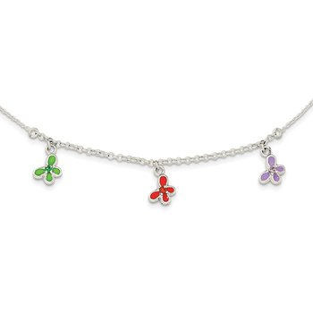 Sterling Silver CZ & Enamel Butterfly Childs Necklace