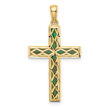 14K Green Enamel Reversible Cross Pendant
