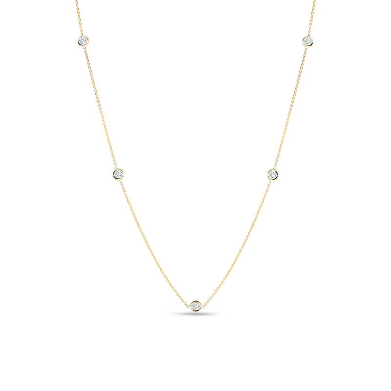Roberto Coin Necklace With 5 Diamond Stations