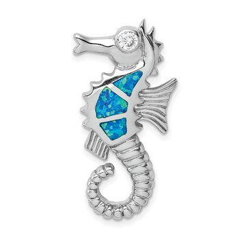 Sterling Silver Rhodium-plated Created Opal and CZ Seahorse Chain Slide