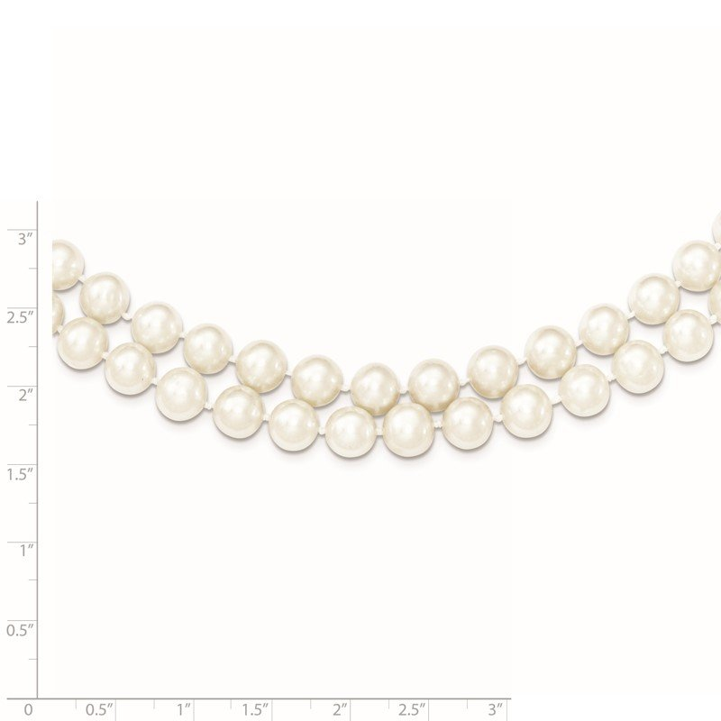 Sterling Silver Rhodium 7.5-8.5mm White FWC Pearl 2-Strand Necklace