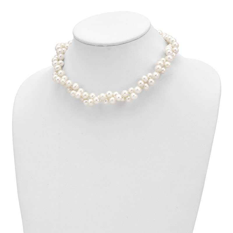 Quality Gold Sterling Silver Rhodium 7.5-8.5mm White FWC Pearl 2-Strand Necklace