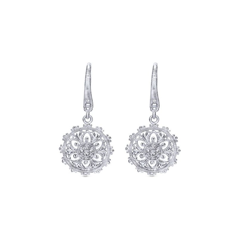 Gabriel Fashion 925 Sterling Silver White Sapphire Vintage Inspired Floral Drop Earrings