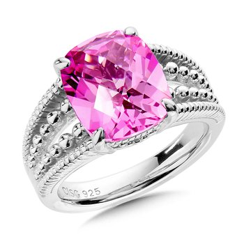 Sterling Silver Pink Sapphire Ring