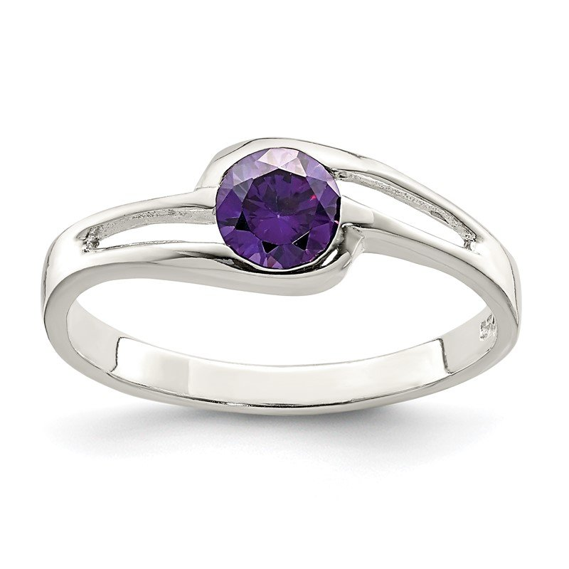 Quality Gold Sterling Silver Purple Round Bezel CZ Ring