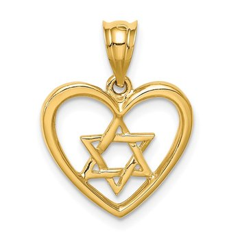 14K Polished Star of David in Heart Pendant