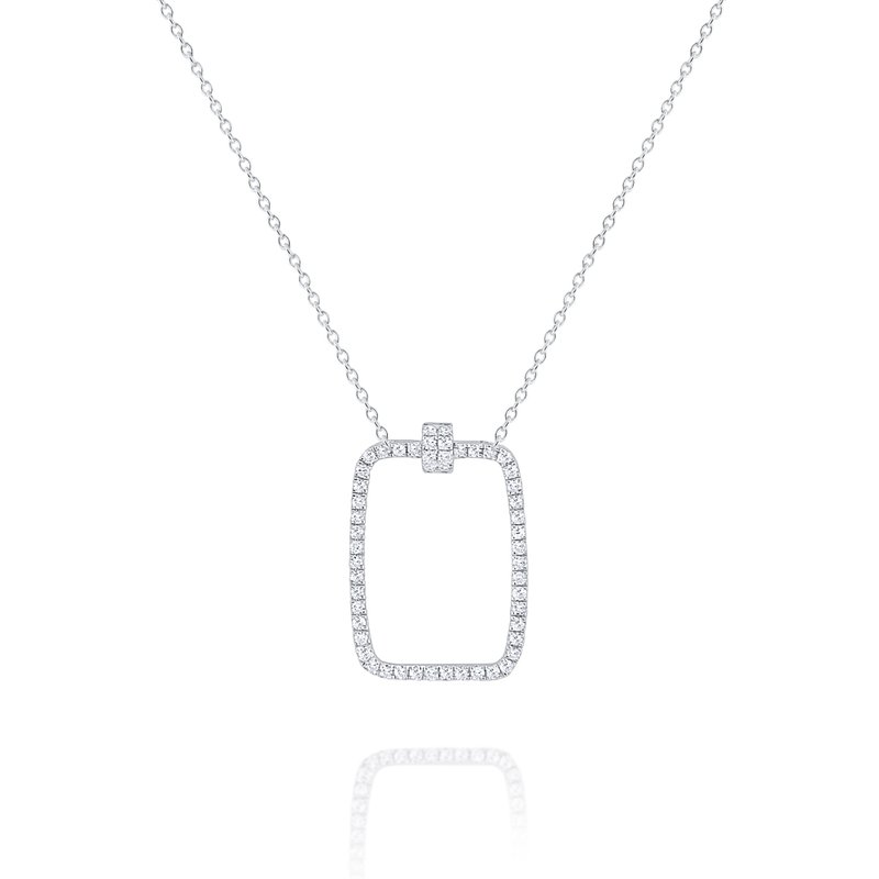 MAZZARESE Fashion Diamond Rectangular Frame Pendant Set in 14 Kt. Gold