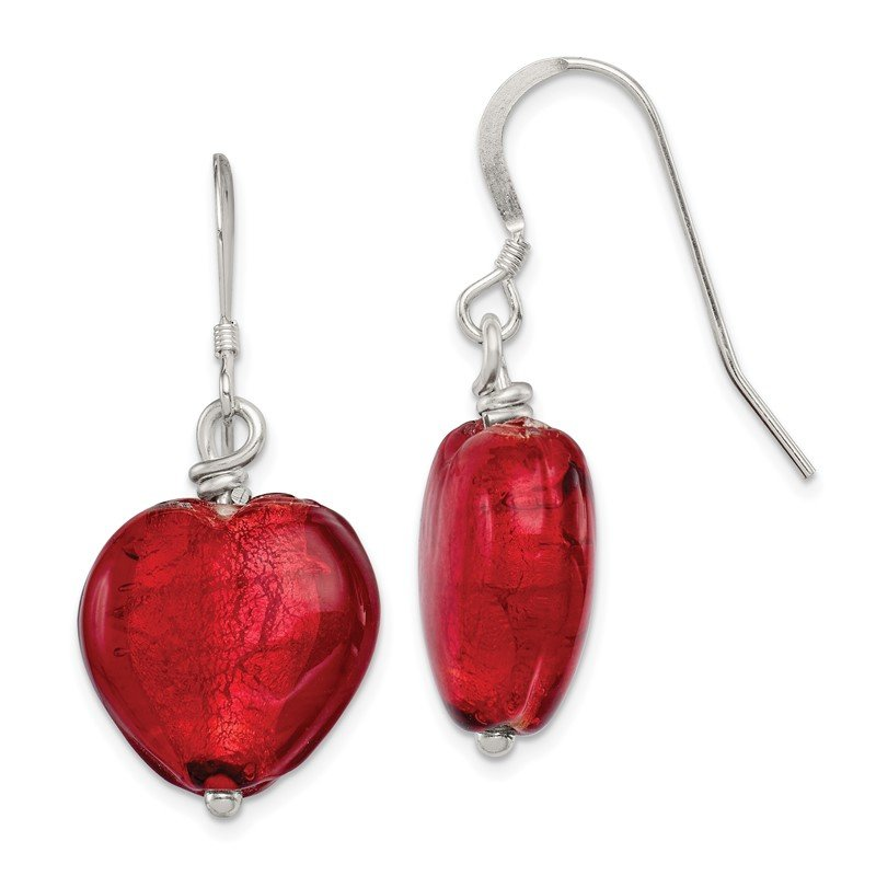 Quality Gold Sterling Silver Red Murano Glass Heart Earrings