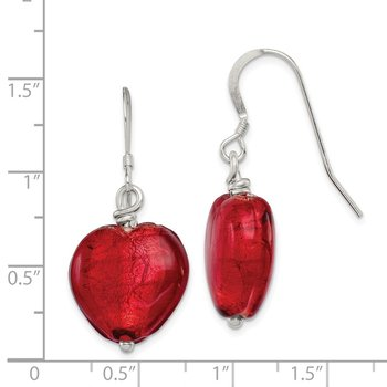 Sterling Silver Red Murano Glass Heart Dangle Earrings