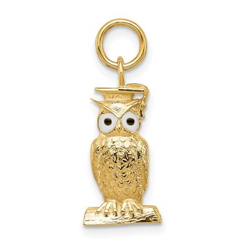 14K Graduation Owl Charm with Enamel