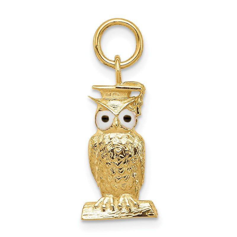 Quality Gold 14K Graduation Owl Charm with Enamel
