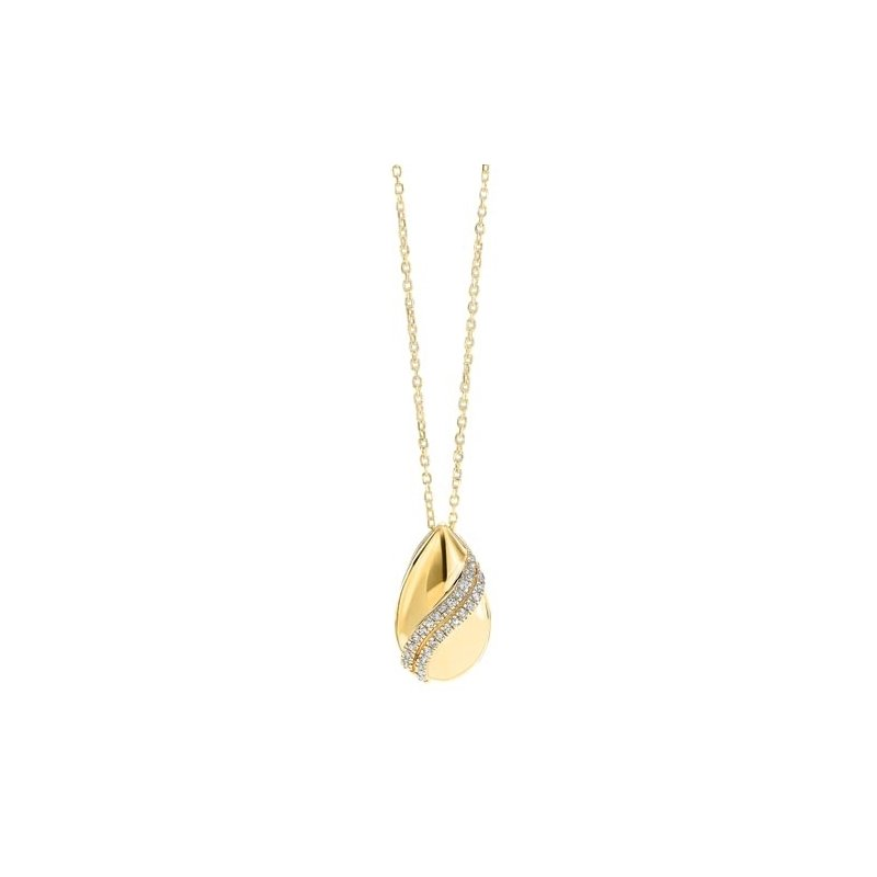 Gems One Diamond Teardrop Shell Pendant Necklace in Gold (0.08ctw)