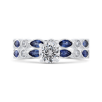 Promezza 14K White Gold Round Diamond Engagement Ring with Pear Sapphire