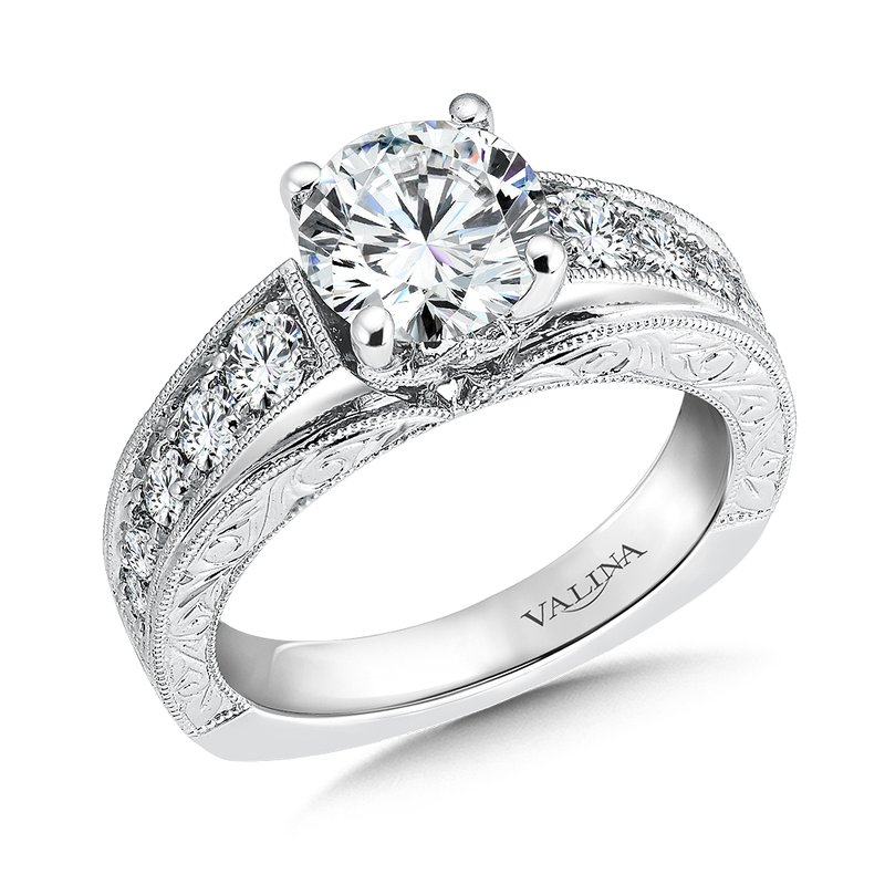 Valina Bridals Mounting with side stones .73 ct. tw., 1 1/2 ct. round center.