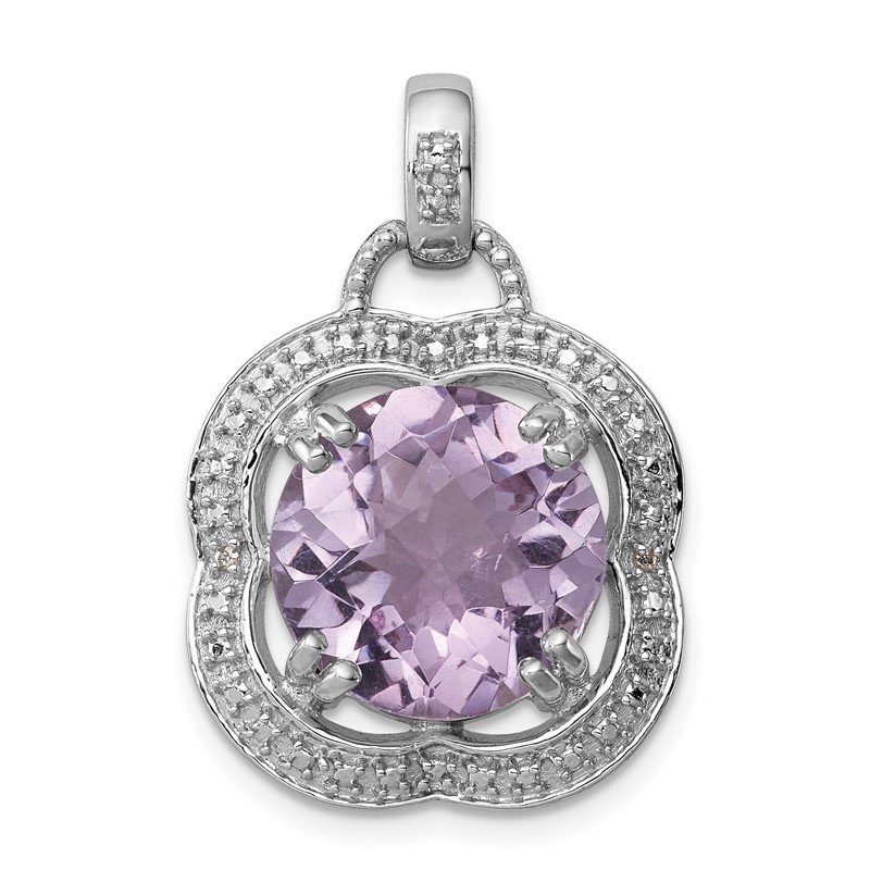 Quality Gold Sterling Silver Rhodium-plated Pink Quartz Pendant