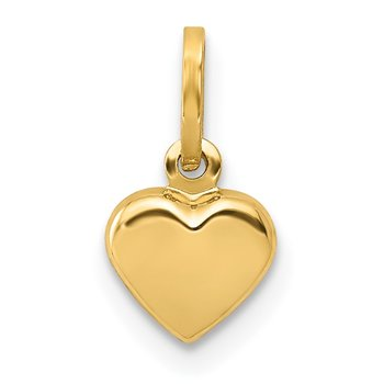 14K Polished 3-D Puffed Heart Charm