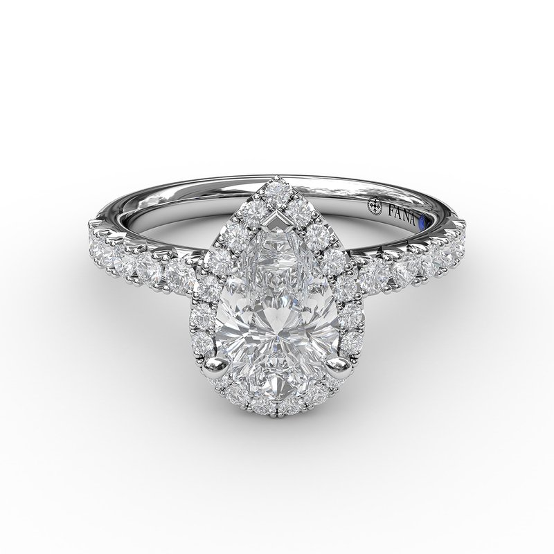 Fana Classic Diamond Halo Engagement Ring with a Gorgeous Side Profile