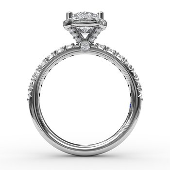 Classic Diamond Halo Engagement Ring with a Gorgeous Side Profile