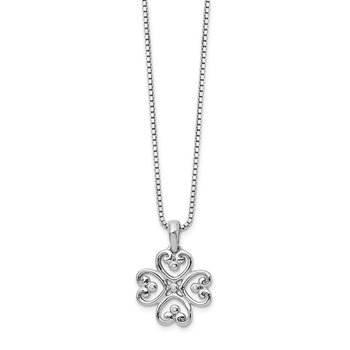 SS White Ice .01 Diamond Heart Necklace