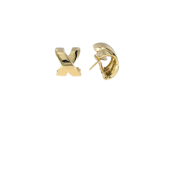 18Kt Yellow Gold Wide X Earring