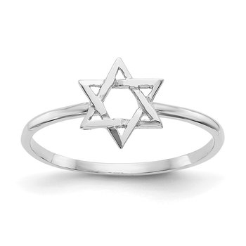 14k White Gold Polished Star of David Ring