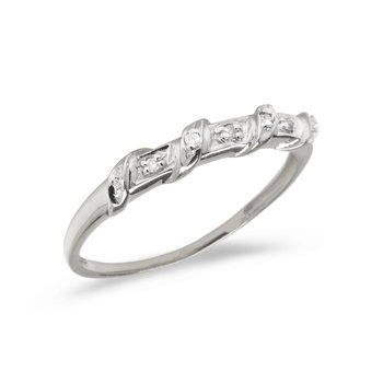 10K White Gold Diamond Band Ring