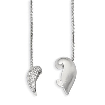 Sterling Silver Polished & Satin w/Sapphire Magnetic Heart Adj Necklace