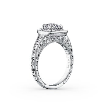 Baguette Halo Diamond Engraved  Engagement Ring
