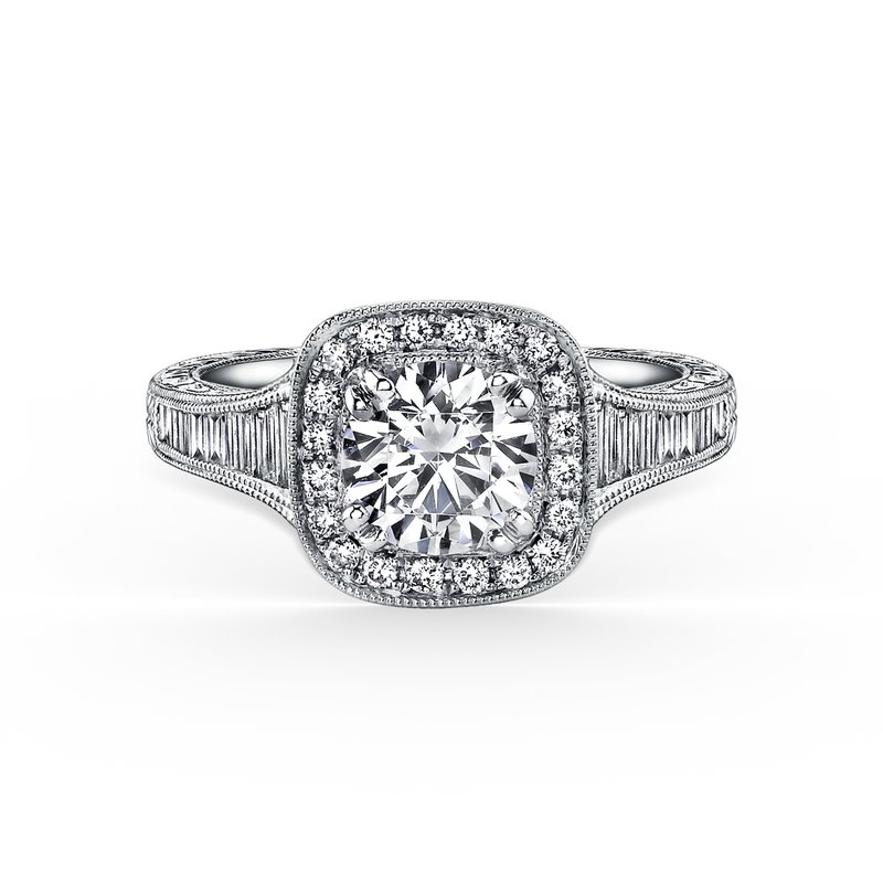 Kirk Kara Baguette Halo Diamond Engraved  Engagement Ring