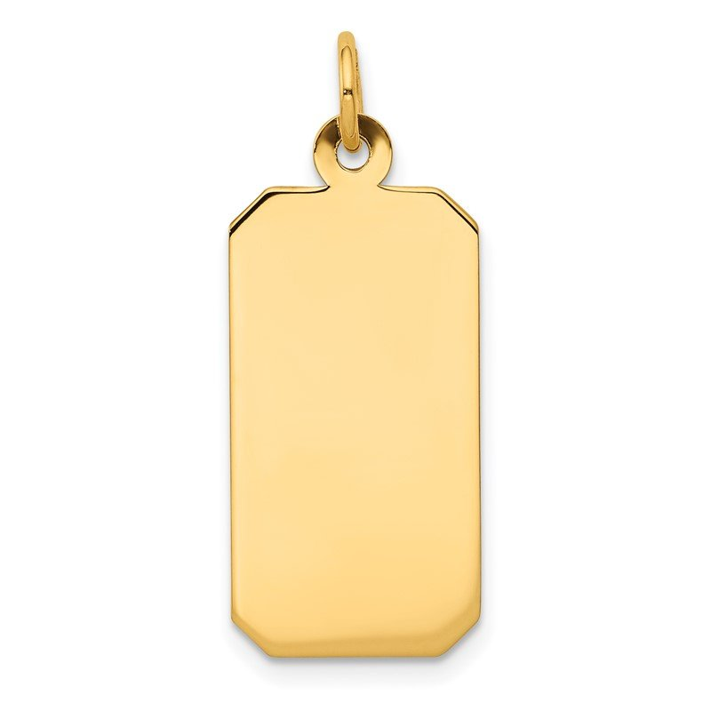 Quality Gold 14k Plain .011 Gauge Engravable Rectangular Disc Charm