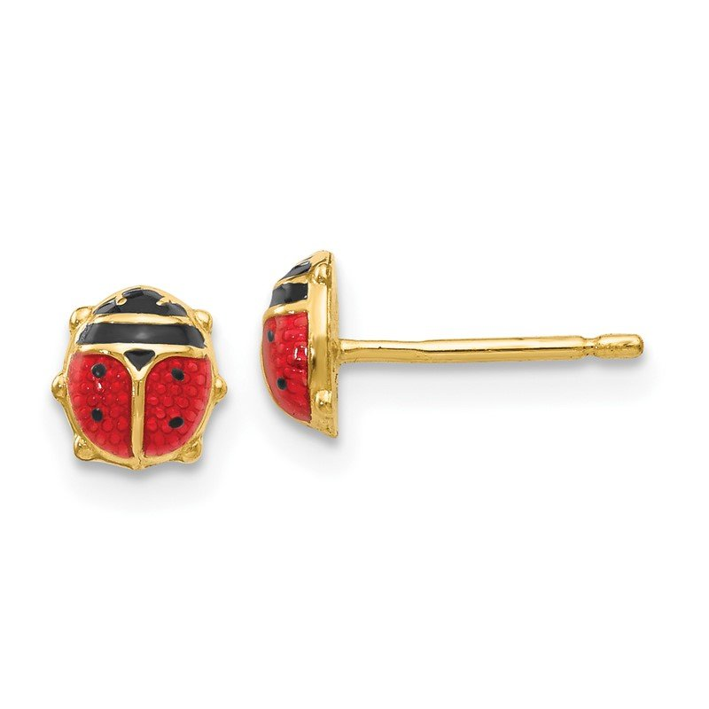 Quality Gold 14k Enameled Ladybug Earrings