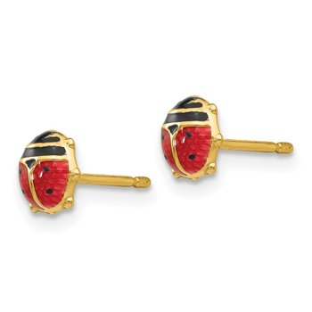14k Enameled Ladybug Earrings