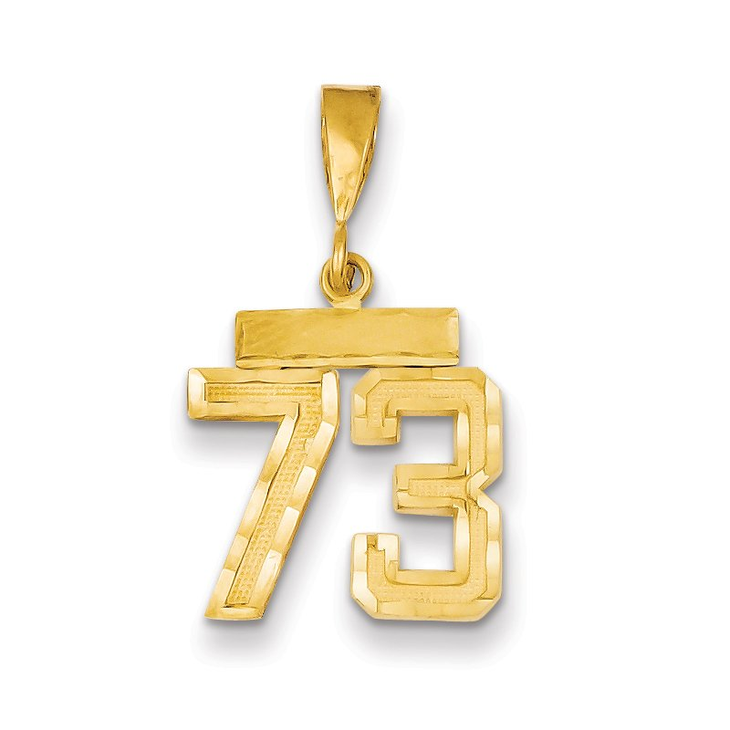 14k Small Diamond-cut Number 73 Charm