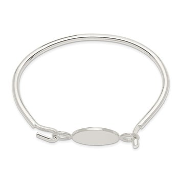 Sterling Silver Bangle w/Round ID Plate Bracelet