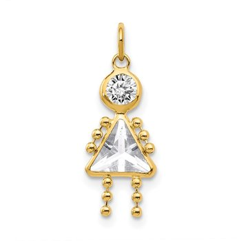 14k April Girl Birthstone Charm