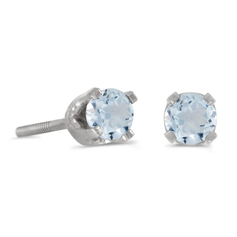Color Merchants 3 mm Petite Round Aquamarine Screw-back Stud Earrings in 14k White Gold
