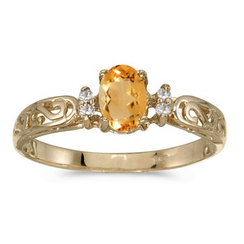 14k Yellow Gold Oval Citrine And Diamond Filagree Ring