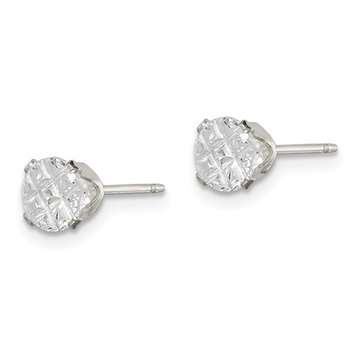 Sterling Silver 5mm Round Snap Set Laser-cut CZ Stud Earrings