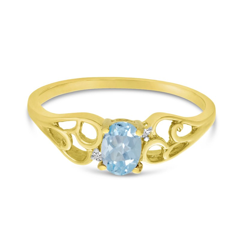Color Merchants 10k Yellow Gold Oval Aquamarine And Diamond Ring