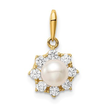 14K Madi k 5-6mm White Button Freshwater Cultured Pearl CZ Pendant