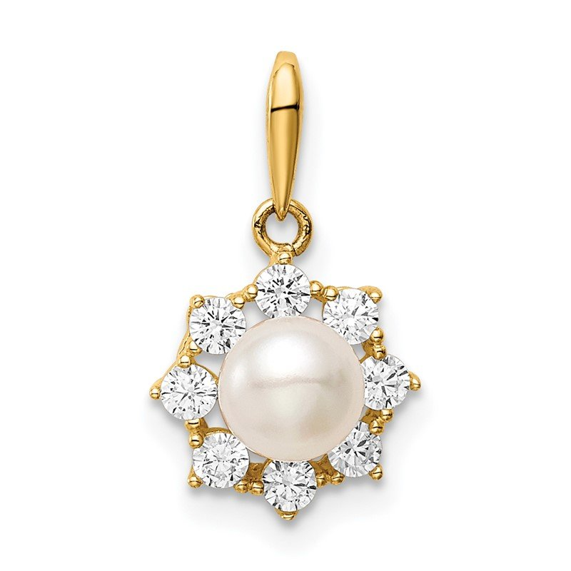 J.F. Kruse Signature Collection 14K Madi k 5-6mm White Button Freshwater Cultured Pearl CZ Pendant